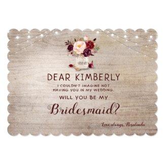 Mason Jar Floral Rustic Will You Be My Bridesmaid Invitation