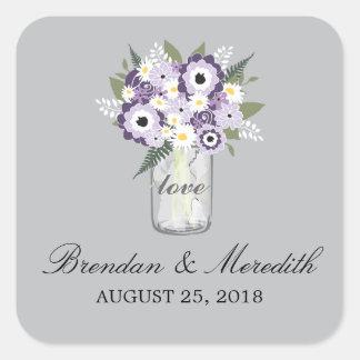 Mason Jar Floral Wedding Square Sticker