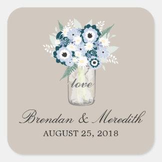 Mason Jar Floral Wedding Square Stickers