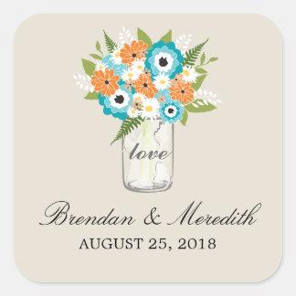 Mason Jar Floral Wedding Sticker