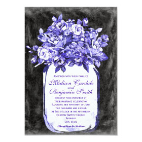 Mason Jar Flower Chalkboard Wedding Invites Indigo