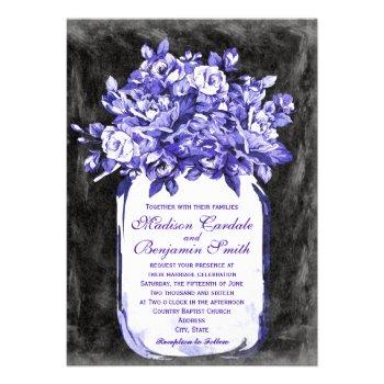 Mason Jar Flower Chalkboard Wedding Invites Purple