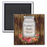 Mason Jar Flower Wreath Bridal Shower 2 Inch Square Magnet