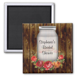 Mason Jar Flower Wreath Bridal Shower 2 Inch Square Magnet