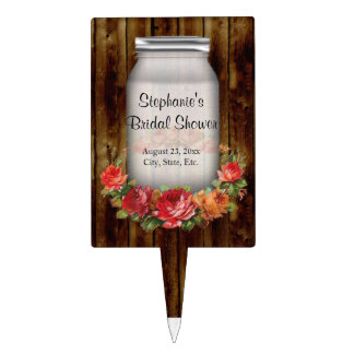 Mason Jar Flower Wreath Bridal Shower Cake Topper