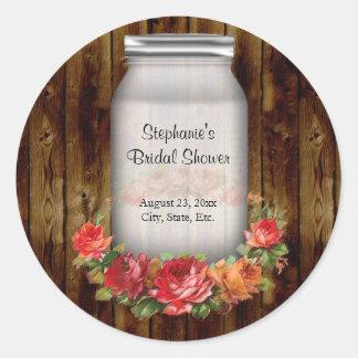 Mason Jar Flower Wreath Bridal Shower Classic Round Sticker