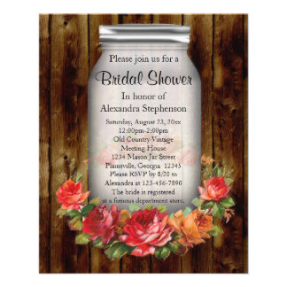 Mason Jar Flower Wreath Bridal Shower Flyer
