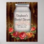 Mason Jar Flower Wreath Bridal Shower Poster