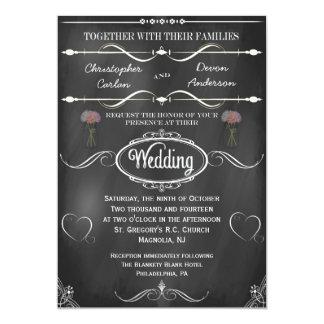 Mason Jar, Flowers and Hearts Chalkboard Wedding 5x7 Paper Invitation Card