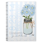 Mason Jar Flowers-Baby Shower Guest Book- Spiral Note Book