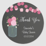 Mason Jar Flowers Baby Shower Sticker