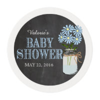 Mason Jar Flowers Blue Baby Shower Edible Frosting Rounds