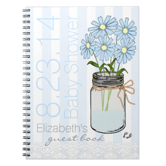 Mason Jar Flowers Blue Baby Shower Guest Book- Spiral Notebook
