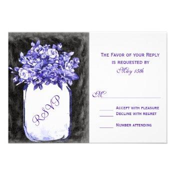 Mason Jar Flowers Chalkboard Purple RSVP Cards
