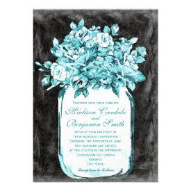 Mason Jar Flowers Chalkboard Wedding Invitations Personalized Invitations