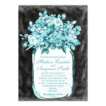 Mason Jar Flowers Chalkboard Wedding Invitations
