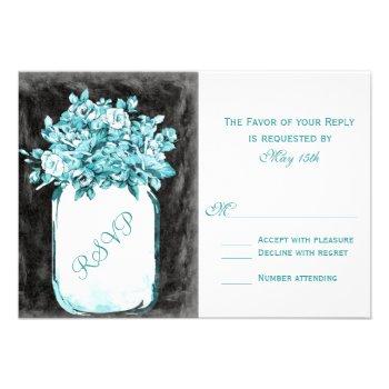 Mason Jar Flowers Chalkboard Wedding RSVP Cards
