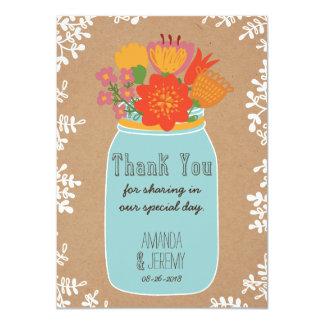 Mason Jar Flowers Craft Paper Thank You Photo Custom Invitations