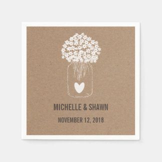 Mason Jar Flowers Cute Heart Country Wedding Paper Napkin