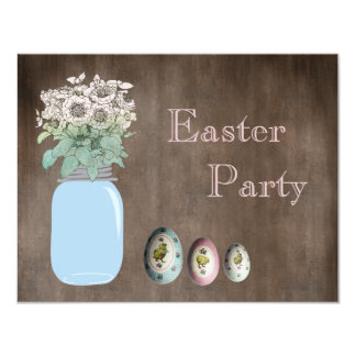 Mason Jar, Flowers & Eggs Rustic Easter Party 4.25x5.5 Paper Invitation Card