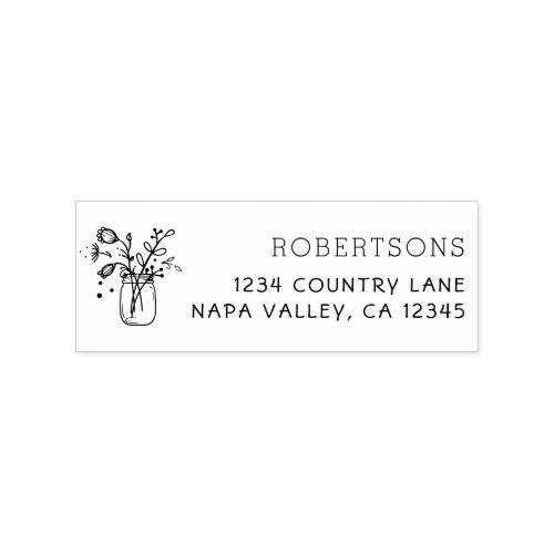 Mason Jar Flowers  Family Name Return Address Rubber Stamp