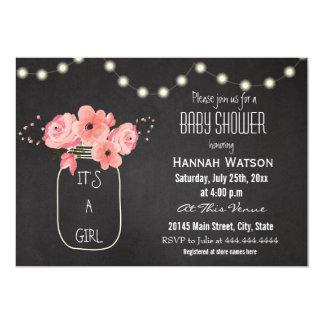 Mason Jar Flowers Lights Chalkboard Baby Shower Card