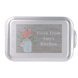 Mason Jar Flowers Personalized Cake Pan