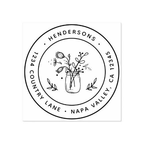 Mason Jar Flowers Round Return Address Rubber Stamp