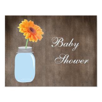 Mason Jar & Gerbera Daisy Rustic Baby Shower 4.25x5.5 Paper Invitation Card