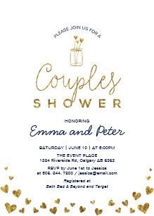 mason jar gold navy couples wedding shower invitation