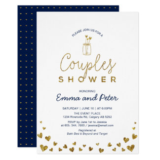 Mason Jar, Gold & Navy Couples Wedding Shower Invitation