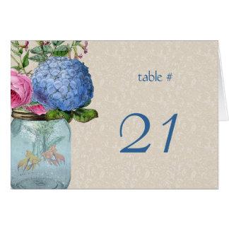 Mason Jar Goldfish Love Table Number Card