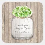 Mason jar green hydrangea wedding favors hyd4 square sticker