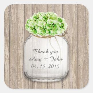 Mason jar green hydrangea wedding favors hyd4 stickers