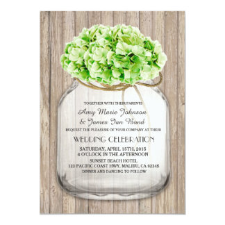 Mason jar green hydrangea wedding invites hyd4