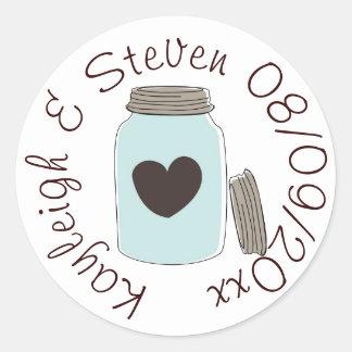 Mason Jar Heart Round Sticker