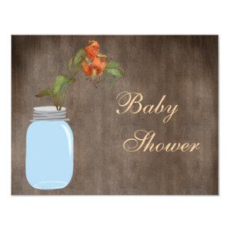 Mason Jar & Hibiscus Rustic Baby Shower 4.25x5.5 Paper Invitation Card