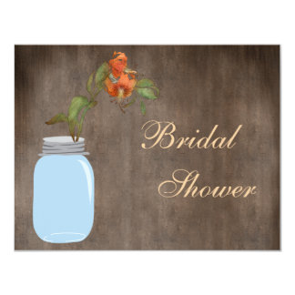 Mason Jar & Hibiscus Rustic Bridal Shower 4.25x5.5 Paper Invitation Card