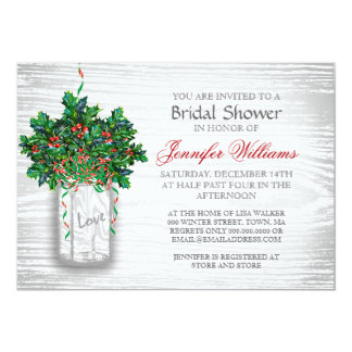 Mason Jar Holly Berry Rustic Winter Bridal Shower Card