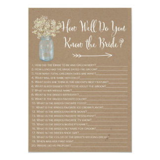 Mason Jar  How well do you know the bride Card