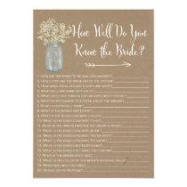 Mason Jar  How well do you know the bride Invitation