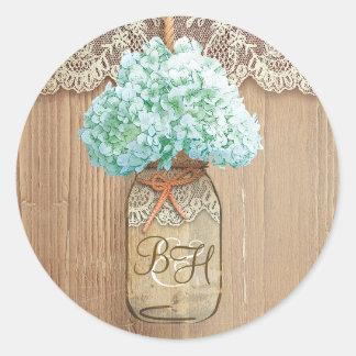 Mason Jar Hydrangea Floral Rustic Wedding Classic Round Sticker