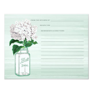 Mason Jar & Hydrangea Mint Green Recipe Card