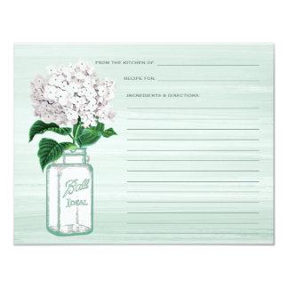 Mason Jar & Hydrangea Mint Green Recipe Card