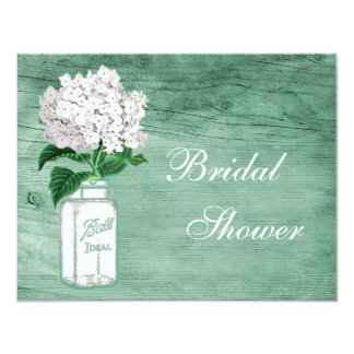Mason Jar & Hydrangea Rustic Mint Bridal Shower Card