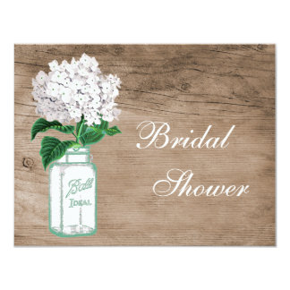 Mason Jar & Hydrangea Rustic Wood Bridal Shower 4.25x5.5 Paper Invitation Card