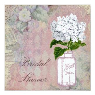 "Mason Jar Hydrangea Shabby Chic Bridal Shower 5.25"" Square Invitation Card"