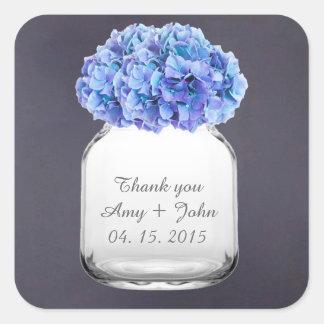 Mason jar hydrangea wedding favors hydrangea7 square sticker