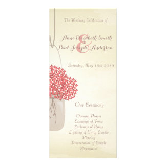 Mason jar hydrangea Wedding Program