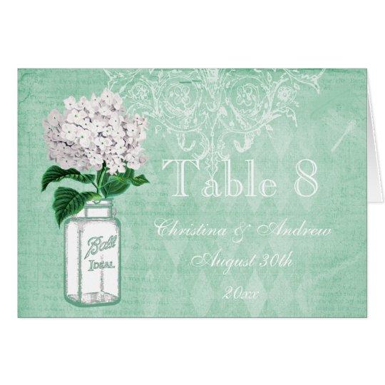 Mason Jar & Hydrangea Wedding Table Number Card